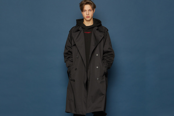 Oversized Trench Coat (BLACK)