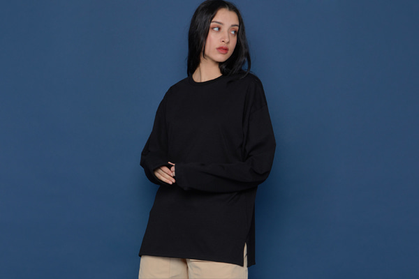 Layered Slit Long-T (BLACK)