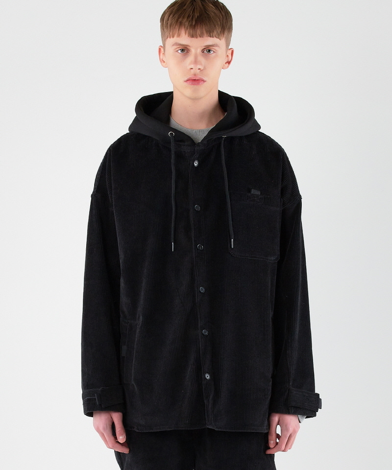 Corduroy Hood Jacket (BLACK)