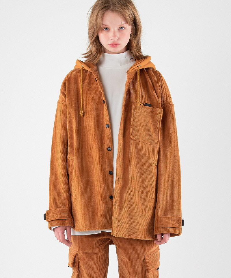 Corduroy Hood Jacket (BROWN)