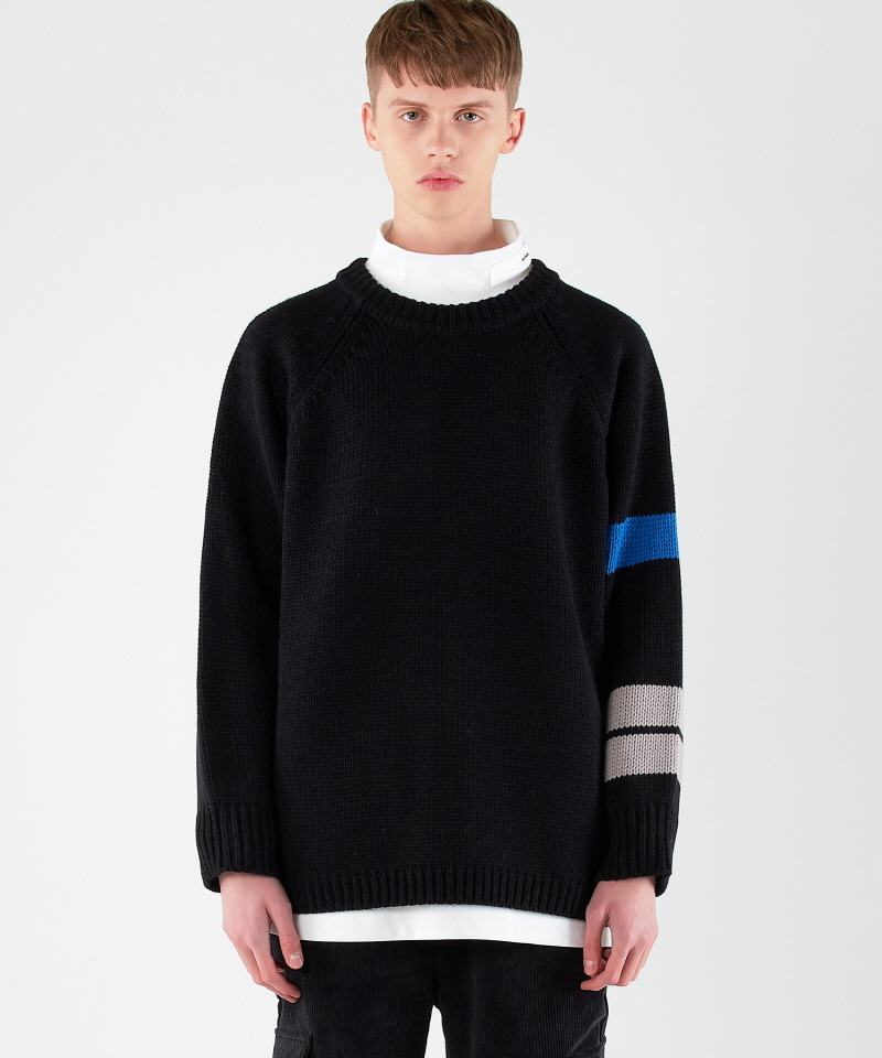 A Patch Slit Knit (BLACK)